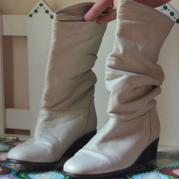 Off White Leather Slouch Boots Heels 7
